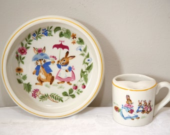 Vintage 60's Tot Trainer Bunnies Bowl And Cup Set