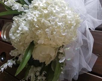 Wedding Decor--Pew Bows (White Hydrangea & Peony)
