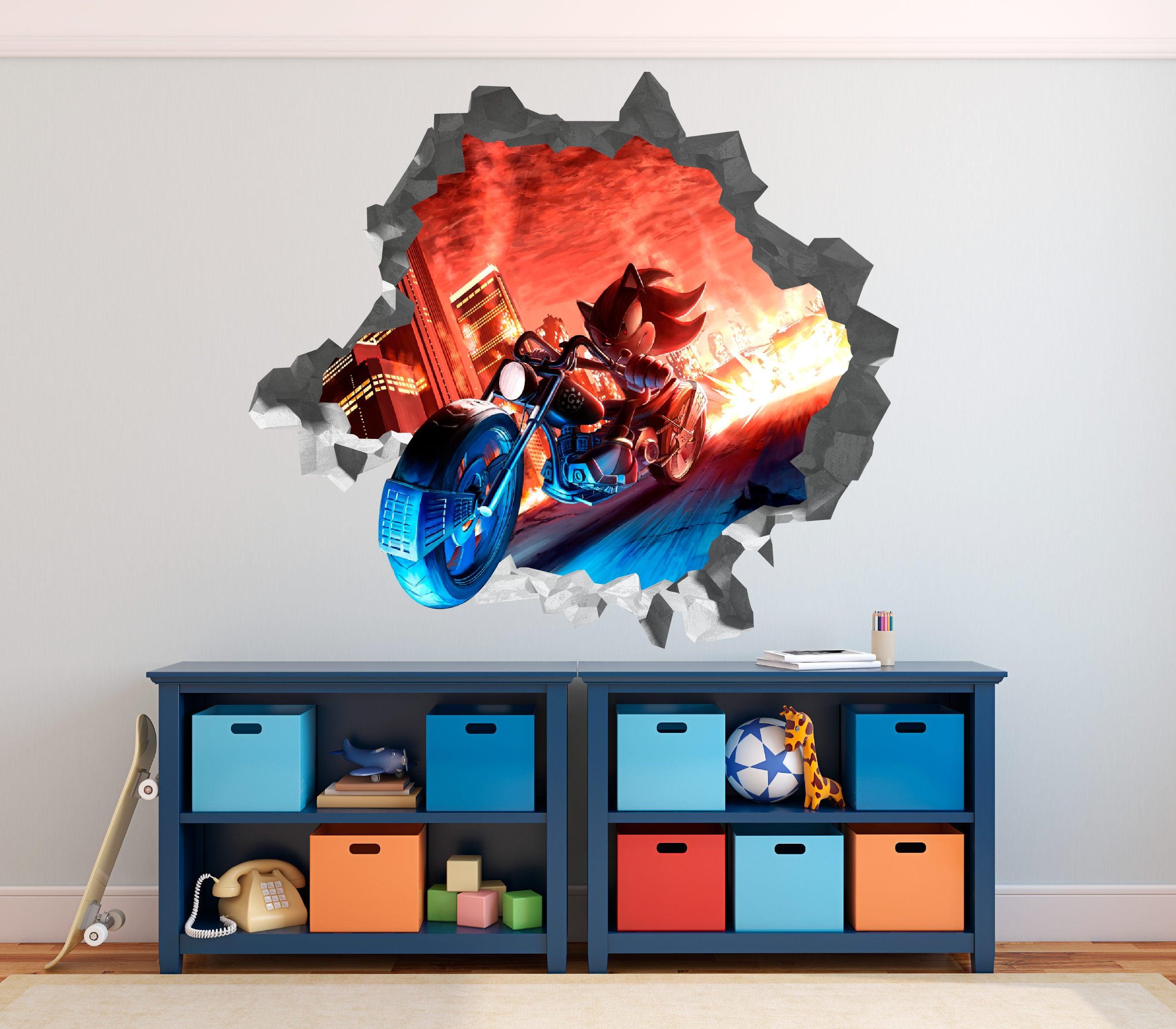 Sonic shadow hedgehog wall decal 3d kids sticker art decor vinyl character door op187 - Sonic wall decals ...