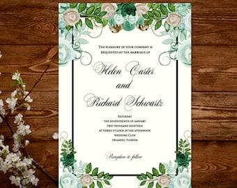 Wedding Invitation Template Floral, Wedding Invitation Watercolor, Wedding Invitation Green, Wedding Invitation Printable, Digital Download
