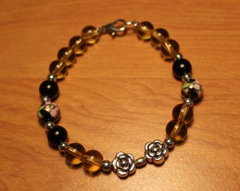 Yellow & black crystal beads, silver beads, sterling flowery beads and cloisonne beads