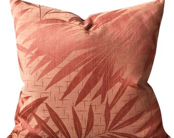 """22"""" x 22"""" Coral Palm Leaf Decorative Pillow Cover - Eastern Accents Pink Pillow Cover"""