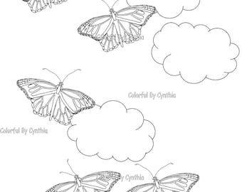 Monarch Butterflies Flying - Coloring Page