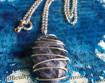 Sodalite Stone Wire Wrap Silver Necklace