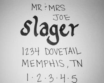Hand Lettered Invitations and Envelopes