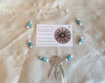 Dream catcher turquoise and white howlite gemstone necklace
