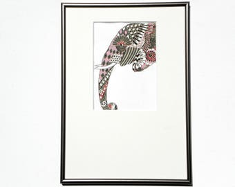 Original painting, technique mixed gouache/watercolor, animal Art figurative / stylized with frame and frame included past
