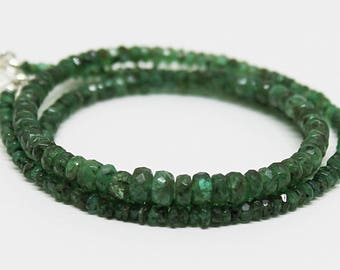 AAA Quality Zambian Emerald Faceted Rondelles - Ready To Wear Necklace 3mm-5mm 18 inches/ May Birthstone