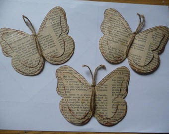 3 great old book pages butterflies