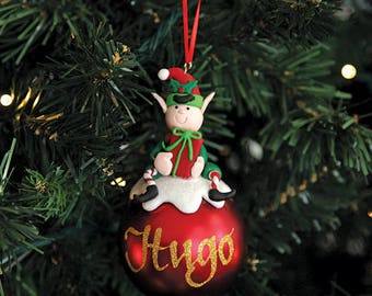 Boy Elf Character Personalised Red Christmas Decoration