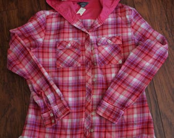 Pink and white flannel with hoodie upscaled using eyelet lace