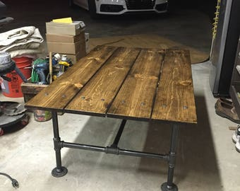 Hand Made, Stained Wood And Black Pipe Coffee Table