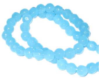 "6mm Pale Turquoise Faceted Round Semi-Opaque Bead, 13"" string"