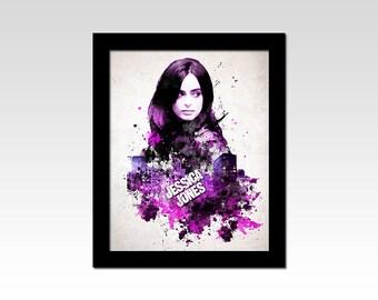 Marvel inspired Jessica Jones paint splatters effect print