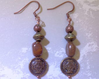 Bronze and Copper Boho Earrings