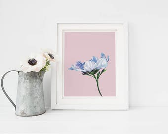 Blue Flower Print, Blue Flower Art, Watercolor Flower, Flower Wall Art, Flower Art, Botanical Art Print, Nursery Prints, Printable Wall Art