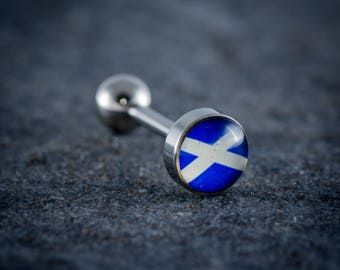 "1.6mm (14g) 316L Surgical Steel Logo Tongue Bar ""SCOTTISH FLAG"""