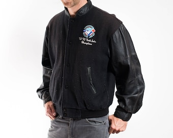 Vintage Varsity Jacket / Mens 90's Blue Jays Bomber Jacket / Toronto Blue Jays World Series Champions Collector Coat