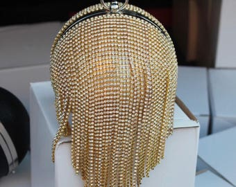 Shiny Diamomd rhinestone party evening bag sphere gold and silver prom bag