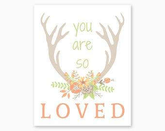 DEER FLORAL ANTLERS, Tribal Nursery, You Are So Loved, Nursery Printable, Deer Nursery, Woodlands Nursery, Baby Girl Gift, Instant Download