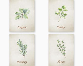 KITCHEN HERBS WALL Art, Farmhouse Kitchen, Country Kitchen, Rustic Kitchen, Instant Download, Set of 8 Designs, Kitchen Herb Art