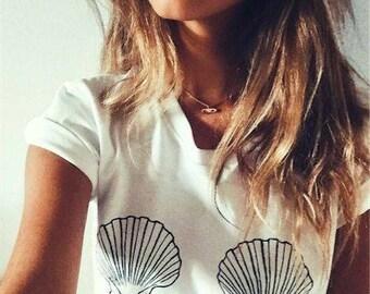 Seashell Mermaid Bra Basic Tee