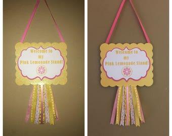 lemonade birthday party, pink lemonade birthday decorations , lemonade party door sign, birthday door sign