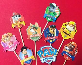 Paw Patrol cupcake toppers, Paw Patrol birthday party, Paw patrol decorations, set of 24, paw patrol party, paw patrol birthday