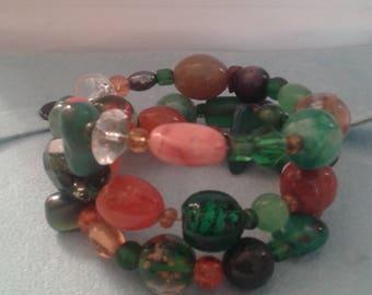 Wire Wrap Multi-Color Memory Wrap Bracelet w/ Porcelain, Glass, Crystal Beads/Stones