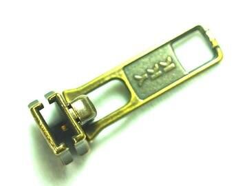 YKK #5 Zipper Slider Metal Antique Brass Replace/Repair parts (5 Sliders)