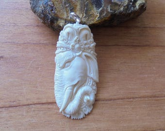Ganesha Bone Pendant, Ganesha Carving,  Bali Bone Carving Jewelry P109