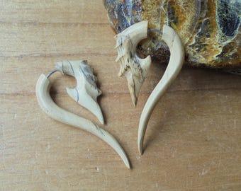 Tamarind Wood Fake Gauge Earrings, Tribal Fake Earrings, Wooden Accessories, Bali Jewelry TMS 01-1