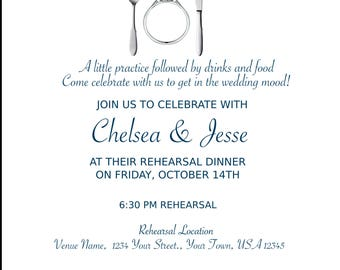 Eat, Drink & Be Married! Personalized Wedding Rehearsal Invitation. YOU PRINT!