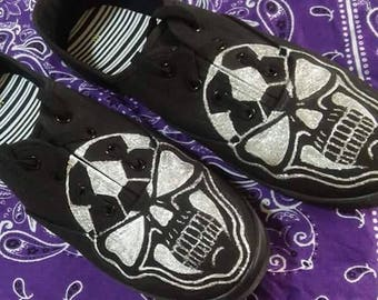 Orlando City Soccer/Ruckus Skull Women's Lace Up Glitter Paint Shoe