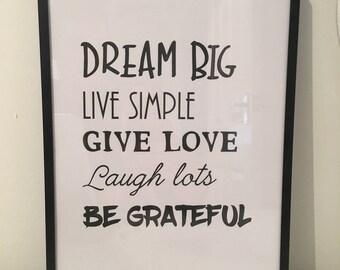 Dream Big live simple print