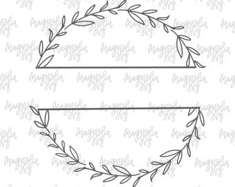 Hand Drawn Split Wreath SVG Design Svg Cut File For Silhouette Files