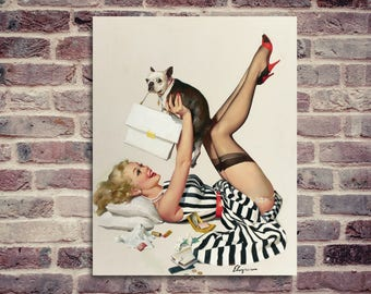 Gil Elvgren vintage pin up poster lucky dog. Vintage poster. Pin up poster. Gil Elvgren poster.