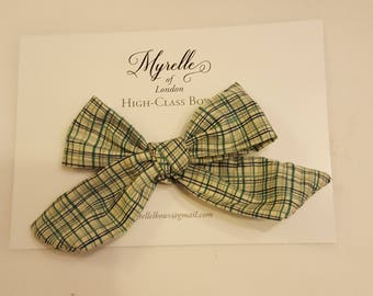Stunning,hair bows, children's, adult's,  fashion, clips, hair, ,Liberty of London, floral, elegant, checked green,