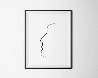 Face Pen Art - Line Poster - Printable Download - Simplicity - Minimalist Print - Black and White - Facial art