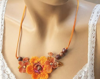 ORANGE crochet Flower necklace