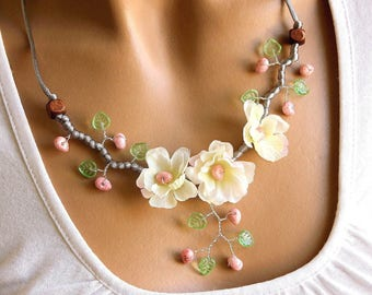 Cherry Blossom necklace white pink and green