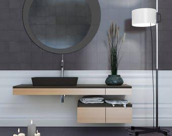 Graphite Gray Round Wall Mirror 31.inch X 31.inch