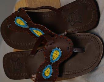 Maasai Maroon Burgundy Leather Beaded Sandals -EU 39/ U.S size 8.5