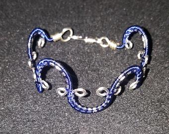Handmade sterling silver wire wrapped bracelet