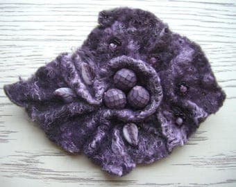 felt brooch purple