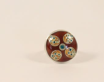 Cloisonné sterling silver ring, Moroccan inspired