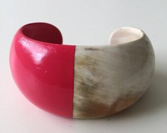 Handmade Natural Horn Cuff Bracelet