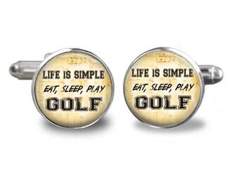Golf cufflinks golfer cufflinks golfing cufflinks eat sleep play golf ball gift mens cufflinks glass cufflink mens cuff links