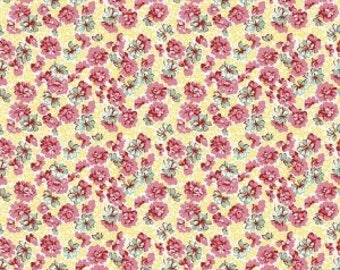 Lily Garden Yellow Fabric - Penny Rose Fabrics by Sue Penn - 100% Cotton