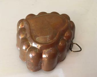 Vintage copper heart shaped mold decoration collection collectible gift present